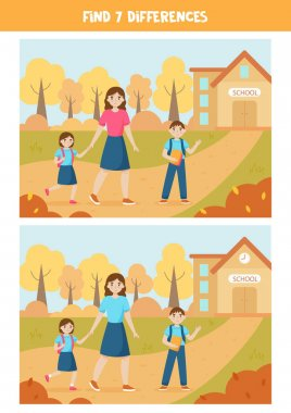 Find seven differences between two pictures. Mother and children go to school.