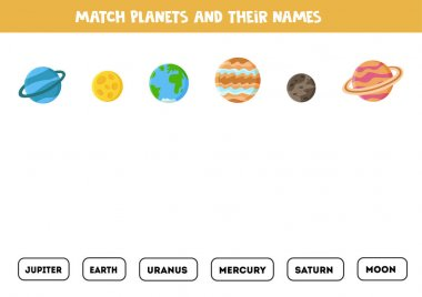 Match solar system planets and their names. Game for kids.