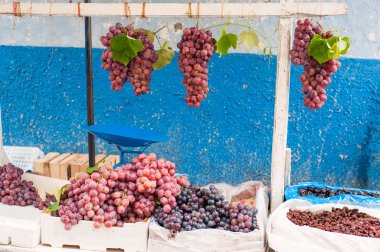 Bunches of grapes on the market