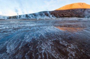 Valley Geysers at El Tatio, northern Chile at Sunrise, Atacama