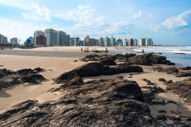 Punta del Este beach with apartment buildings, in Uruguay