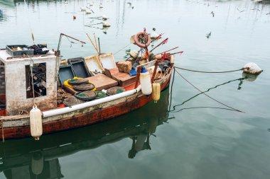 Classic Red Fishing boat in Punta del Este harbor, Uruguay