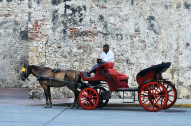 Horse drawn touristic carriages, Cartagena de Indias in Colombia