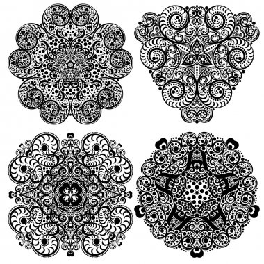 Set of  Black and white Mandala, tribal ethnic ornament,  islamic arabic indian pattern.