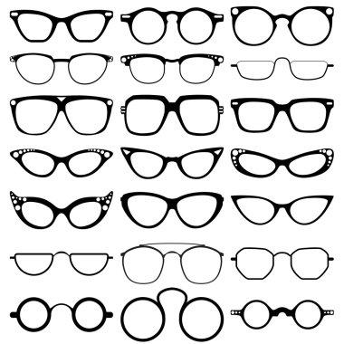 Glasses model icons, man, women frames. Sunglasses, eyeglasses isolated on white.  silhouettes. Different shapes, frame, styles.  Vector illustration on white background.