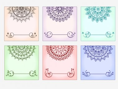 Set of colored blank cards with half lace mandalas.