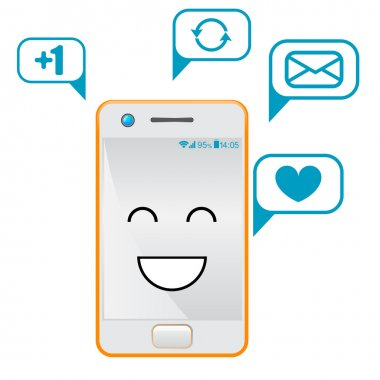 Smartphone Flat Designs with cute cartoon faces and massages.