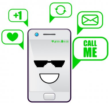 Smartphone Flat Designs with cute cool cartoon faces and massages.