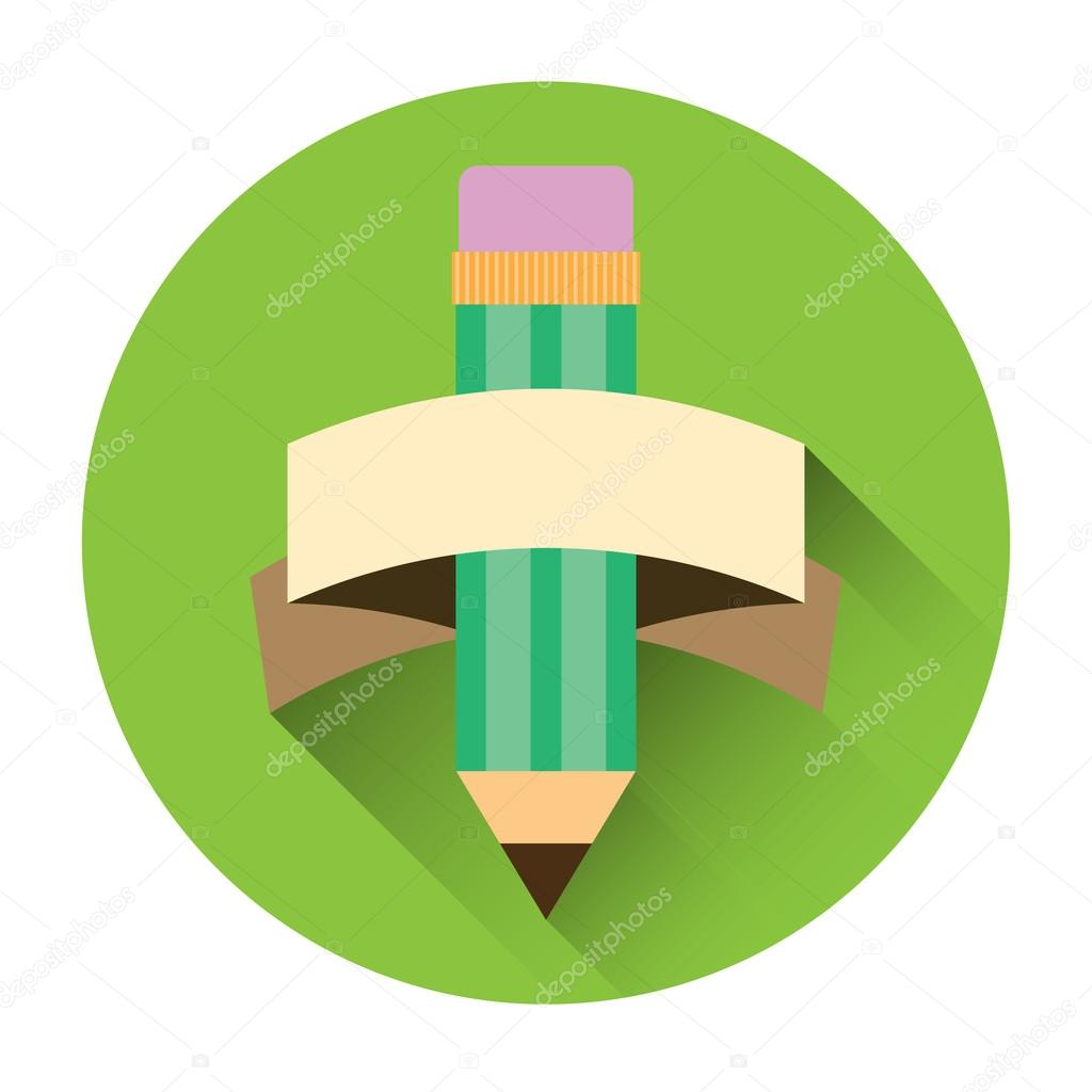 Flat pencil icon with shadow.