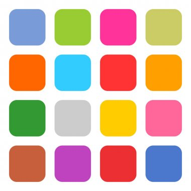 16 blank icon rounded square web button on white background.