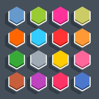 16 hexagon blank icons