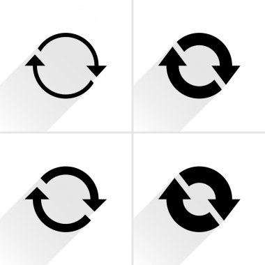 4 arrow icon refresh, rotation, reset, repeat, reload sign set
