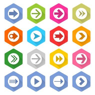 16 arrow icons set