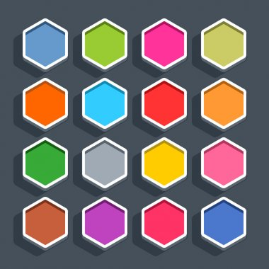 16 blank hexagon buttons in flat style with oval shadow on gray background.