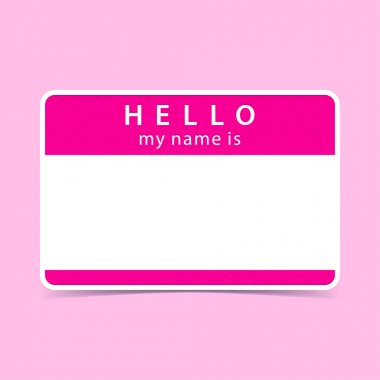 Pink name tag blank