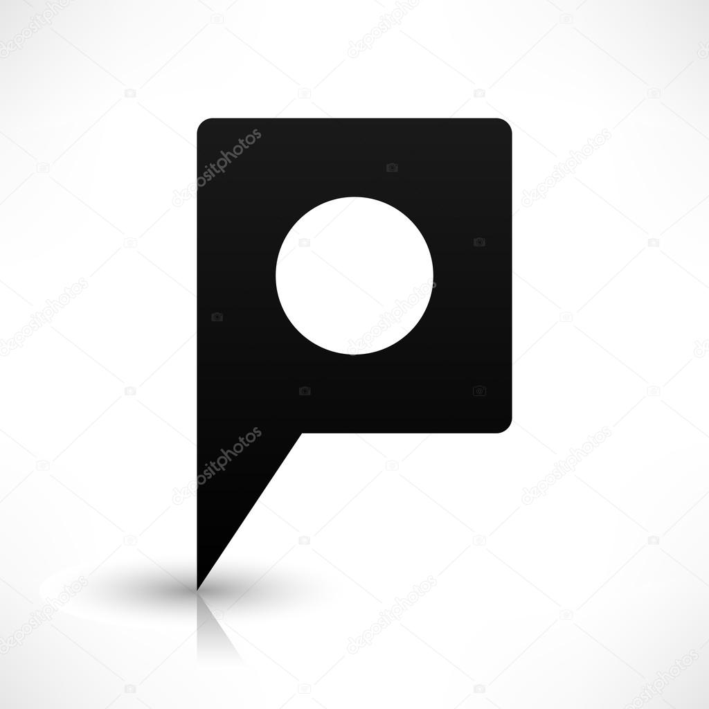 Black empty square map pin stock vector ifeelgood 56706491 black empty square map pin sign location icon with circular blank copy space and gray shadow reflection on white background in flat style buycottarizona Gallery