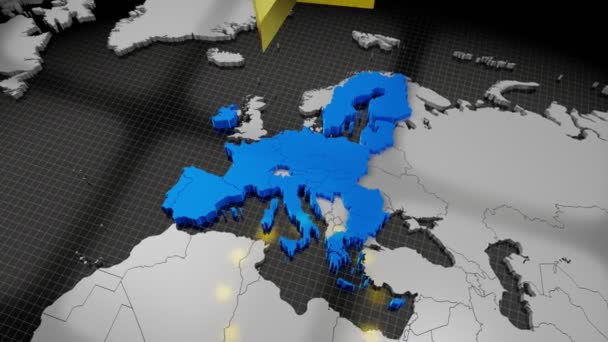 Mapa a vlajka Evropské unie, rotující hvězdy - 4K animace (3840x2160 px), 3D vykreslování.