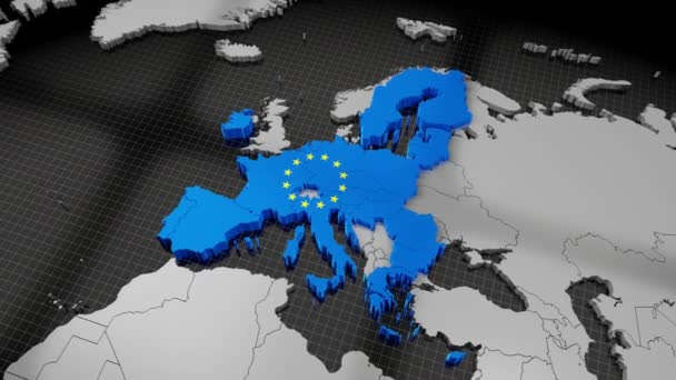 European Union map and flag - 4K animation (3840x2160 px), 3D rendering.