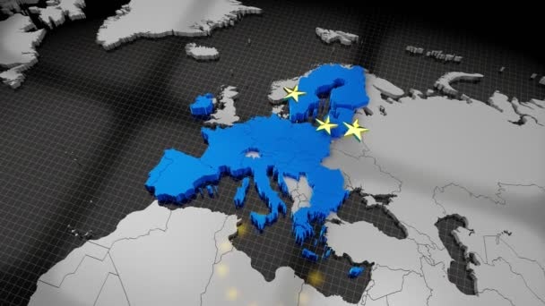 European Union map and flag, falling stars - 4K animation (3840x2160 px), 3D rendering.