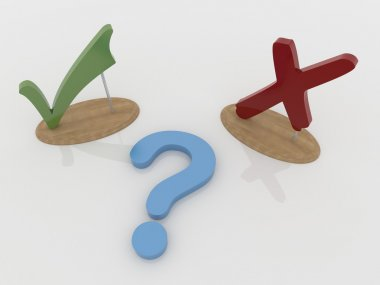 Question and Check Mark Sign and Cross Symbol with Wooden Suppor