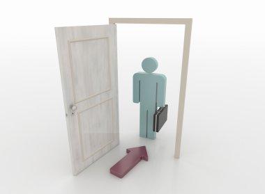 Businessman in Front of an Open Door with Arrow Symbol, 3D Render