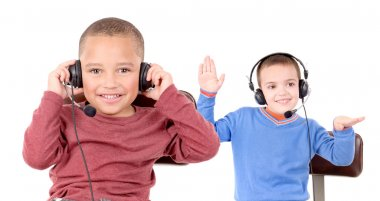 Young boys with headphones
