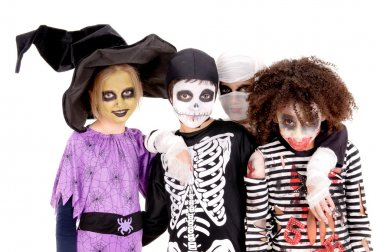Kids with scary costumes on halloween