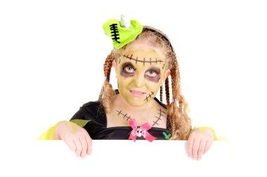 Halloween girl dressed as frankenstein
