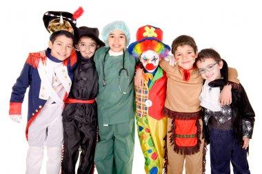 Kids in costumes on halloween