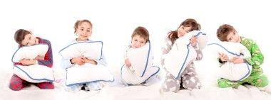 Little kids on their pajamas