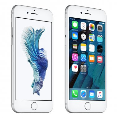 Silver Apple iPhone 6s slightly rotated front view with iOS 9