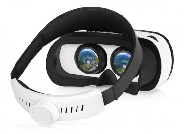 VR virtual reality headset half turned back view