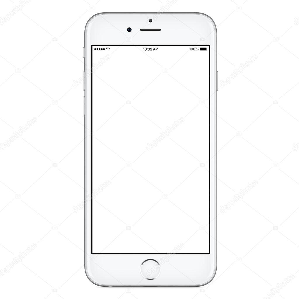 Directly front view of white mobile smart phone mockup similar to iPhone — Stock Photo © alexey ...