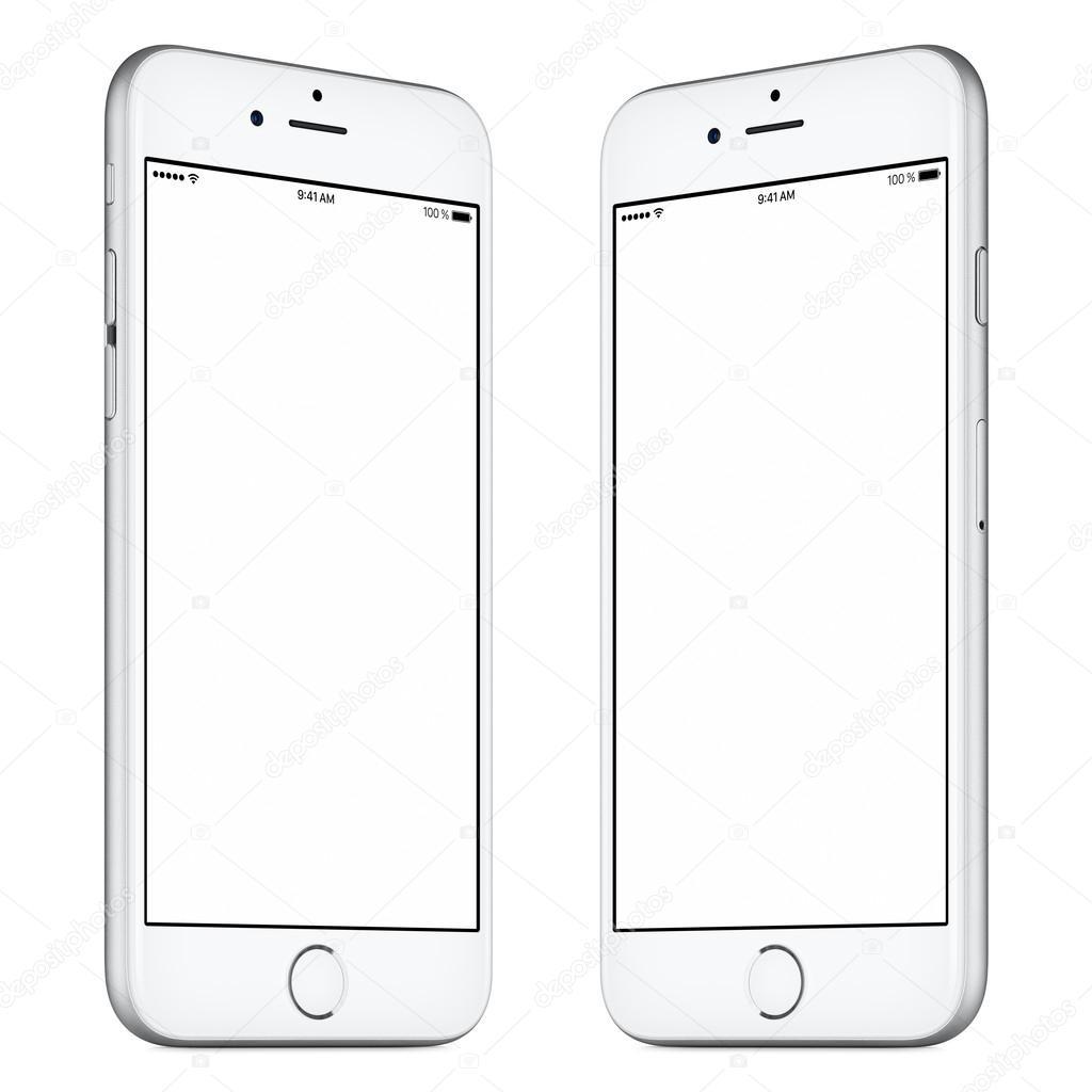 White smartphone mockup similar to iphone slightly rotated both white mobile smartphone mockup similar to iphone this mockup includes both sides of slightly rotated white smartphone with blank template screen maxwellsz