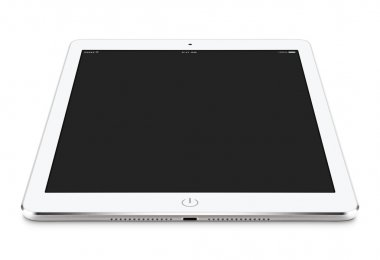 Angled front view of white tablet pc with blank screen mockup li
