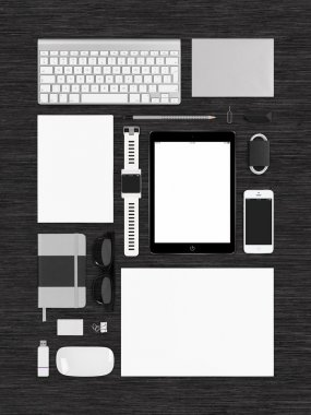 Top view of technology template mockup for branding identity on