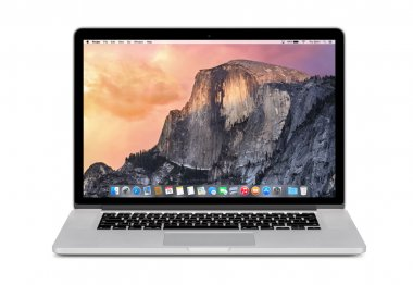 Front view of Apple 15 inch MacBook Pro Retina with OS X Yosemit