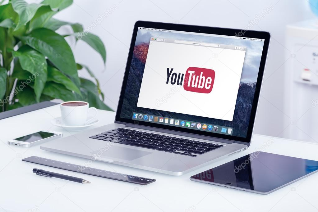 Youtube logo on the apple macbook pro display stock editorial youtube logo on the apple macbook pro retina display youtube presentation concept youtube is a video sharing website allows users to upload view ccuart Image collections