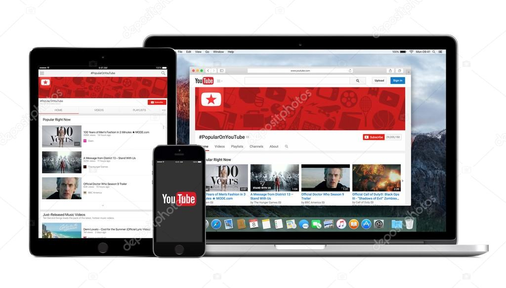 youtube app logo on the iphone and ipad displays desktop version