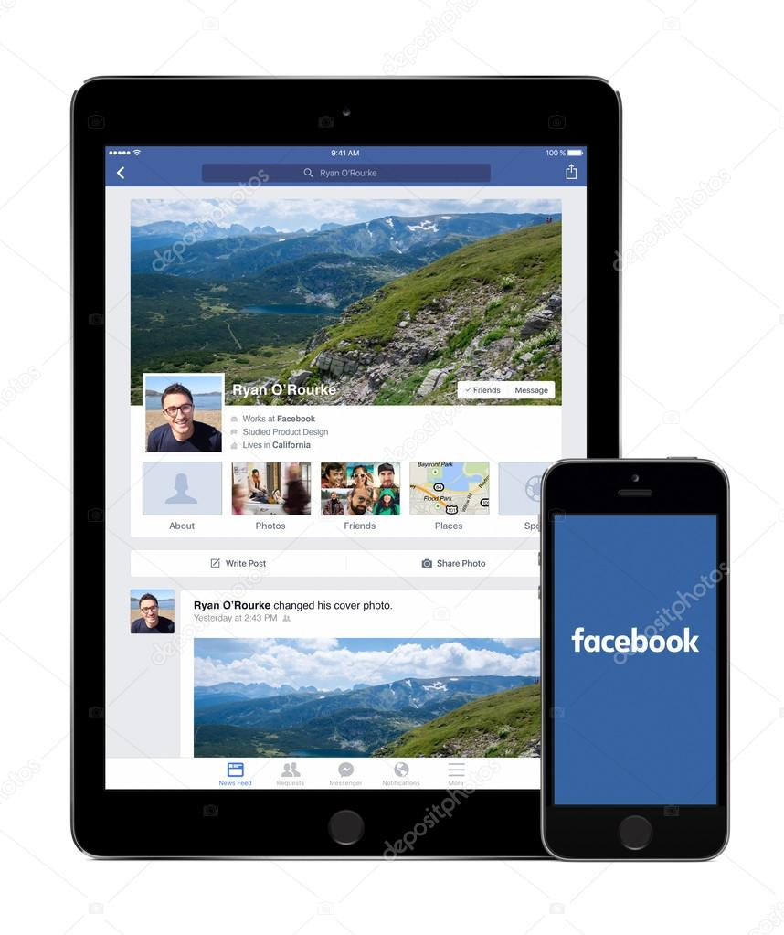 Facebook app on the Apple iPad Air 2 and iPhone 5s displays – Stock