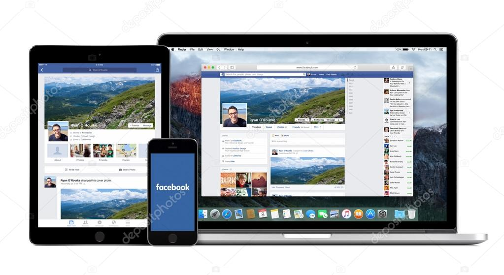 Facebook app on Apple iPhone iPad and Macbook Pro displays – Stock