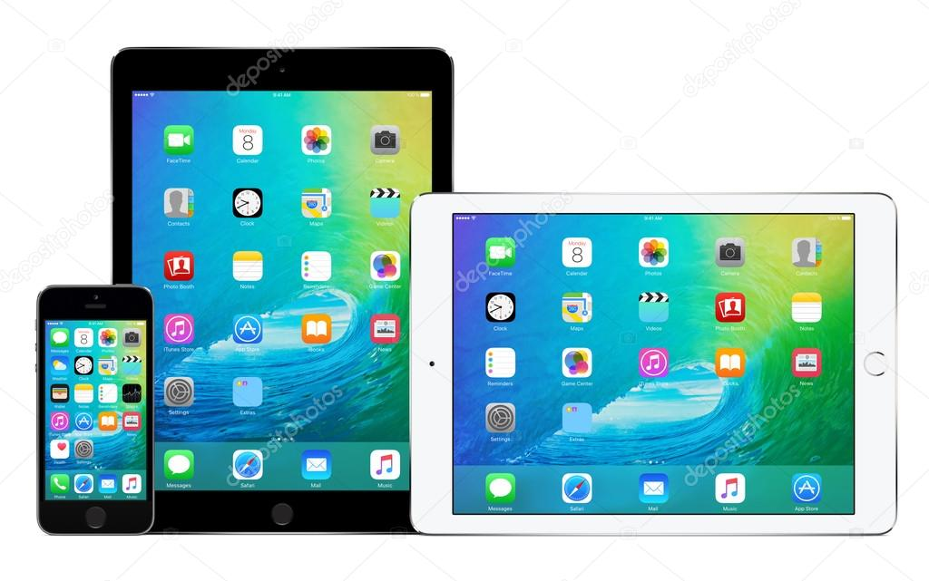 Apple iPhone 5s and two Apple iPad Air 2 with iOS 9 – Stock