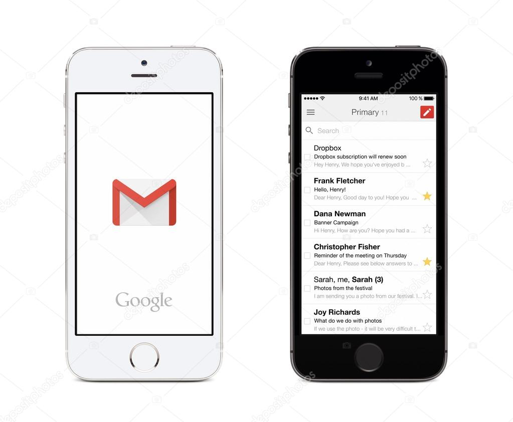 Google Gmail app and Gmail inbox on white and black Apple iPhones