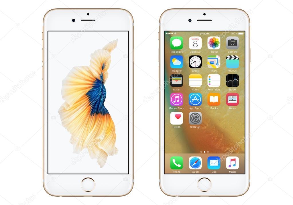 Iphone 6s Stock Wallpaper: Gouden Apple Iphone 6s Front Weergave Met Ios 9 En