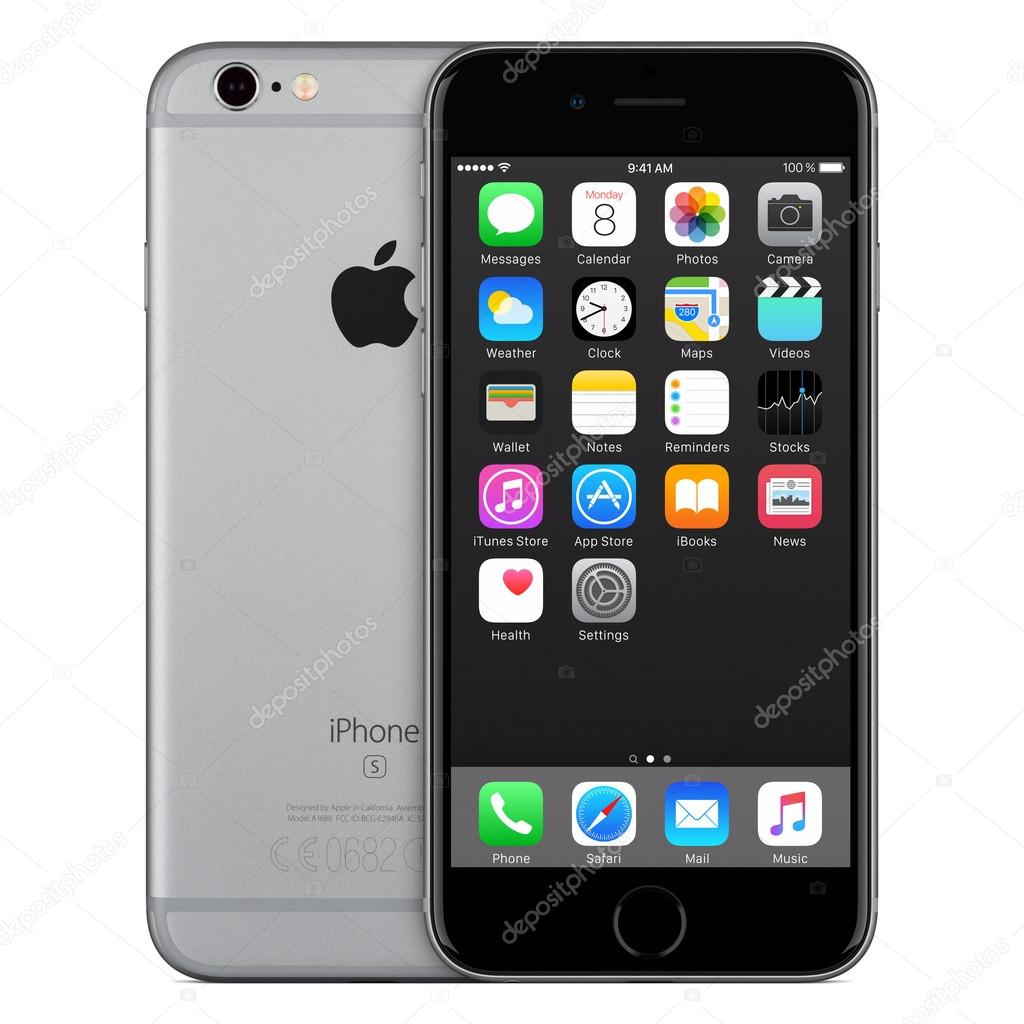 iphone 6s stock space gray apple iphone 6s front view with ios 9 on the 3473