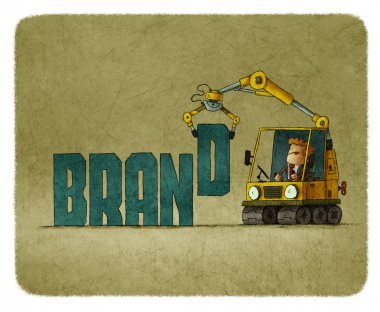 Man in tractor building word brand