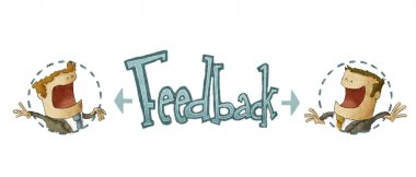 Concept of feedback in white background