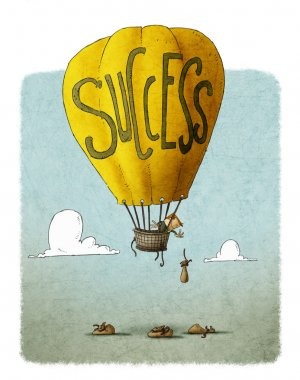 Businessman in a balloon with the word success stock vector