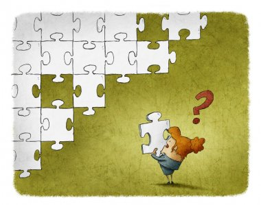 illustration of a Woman confused with a piece of puzzle