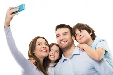 Young family doing selfie